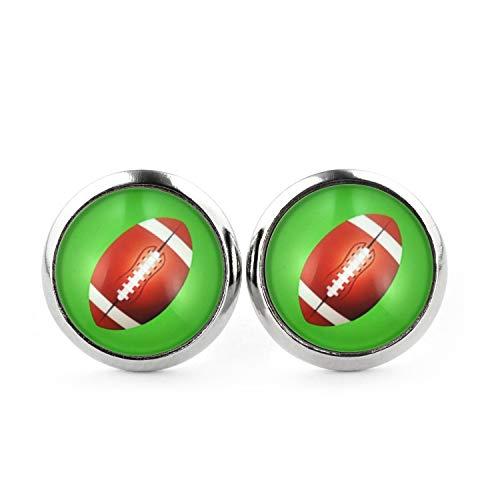 Preisvergleich Produktbild SCHMUCKZUCKER Unisex Ohrstecker Football Edelstahl Ohrringe Silber Grün 12mm