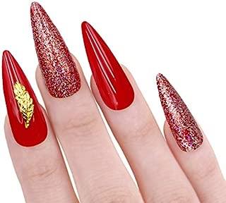 Red Long glitter Stiletto 20pcs full cover false nails