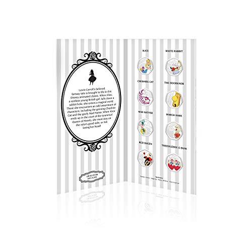 IMPACTO COLECCIONABLES Disney Alice im Wunderland Komplette Sammlung - 50p geformte Silberne Gedenkmünze für 50 Pence / Offizielle Disney-Geschenke in limitierter Auflage
