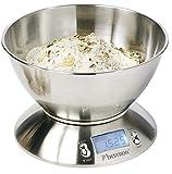 Bestron Bilancia digitale con ciotola per pesare, Capacità 5 kg, Precisione a 1 g, Acciaio