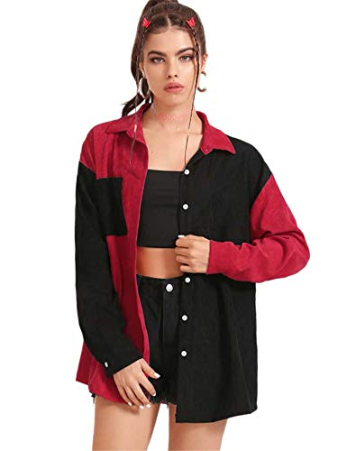 SOLY HUX Women's Long Sleeve Color Block Pocket Front Button Down Corduroy Jacket Black and Red S