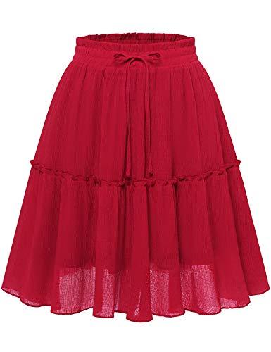 Bbonlinedress Damen Röcke Sommerrock Minirock Basic Solide Rock A-Linie Kurz Röcke Skirts im Sommer Dark Red 2XL