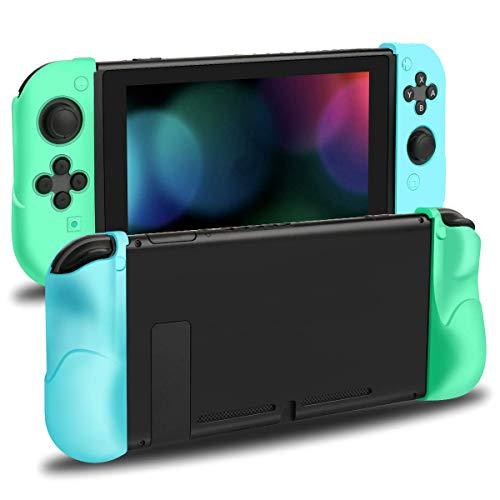 Nintendo Switch Joy Con, Unionup Joycon Grip Cover für Animal Crossing New Horizonte, aus weichem Silikon mit Anti-Kratz- und Anti-Rutsch-Funktion für Controller (Blau & Grün)