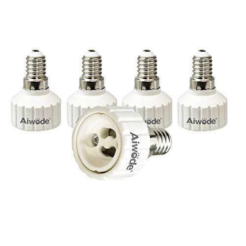 Aiwode E14 Fassung auf GU10 Sockel Lampen Adapter, Lampensockel Konverter für LED,Glühlampen und CFL Lampen,Maximale Leistung 200W,0~250V,120 Grad Hitzebeständig,5er-Pack.