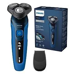 Idea Regalo - Philips S5466/18 - Rasoio Elettrico Serie 5000, Pelle Bagnata e Asciutta, Lame Auto-Affilanti ComfortTech, Testine per Contorno Viso a 360°, Display LED per un Uso Intuitivo, Rifinitore ad Aggancio