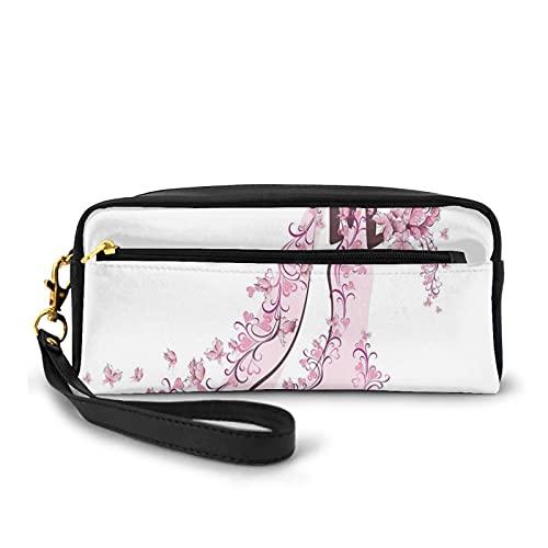 Federmäppchen mit Reißverschluss, Blumen, Herzen, Schmetterlinge auf Hochzeitskleid, Brautkleid, Federtasche, kleine Make-up-Tasche