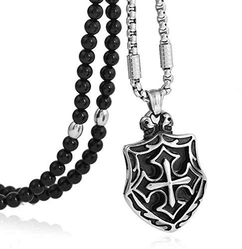 LKLFC Collar para Mujeres Hombres 316L Cruz de Acero Inoxidable para Hombres Caballeros Templarios Escudo Colgante Collar con Cadena de Piedra Natural Negra 26 Colgante Collar Niñas Niños Regalo
