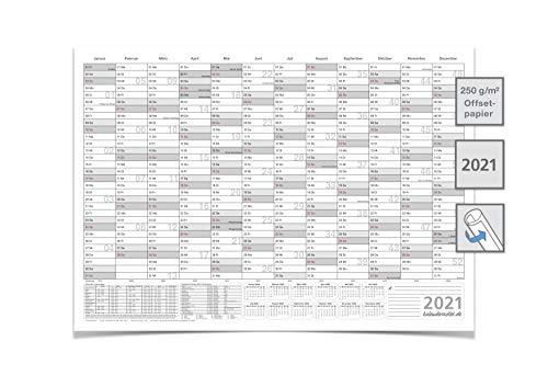 Kalender/Jahresplaner/2021 groß mit Ferien DIN A0 118,8 X 84,0 CM GEROLLT GRAU