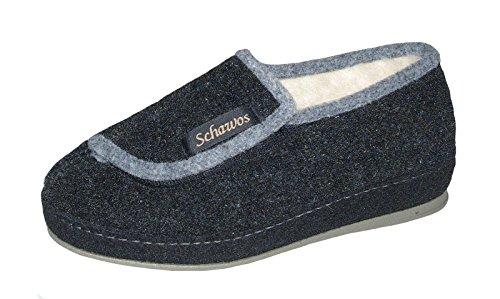 Schawos Damen Hausschuh schwarz Schurwolle Weite-H in Größe 37-42, Damen Größen:41, Farben:schwarz