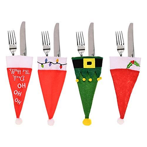 Decoraciones navideñas 8 piezas Soportes para cubiertos navideños Cubiertos para cubiertos Bolsillos Cuchillos Tenedores Bolsas para la fiesta de Navidad Cena Decoración de la mesa Bolsas navideñ