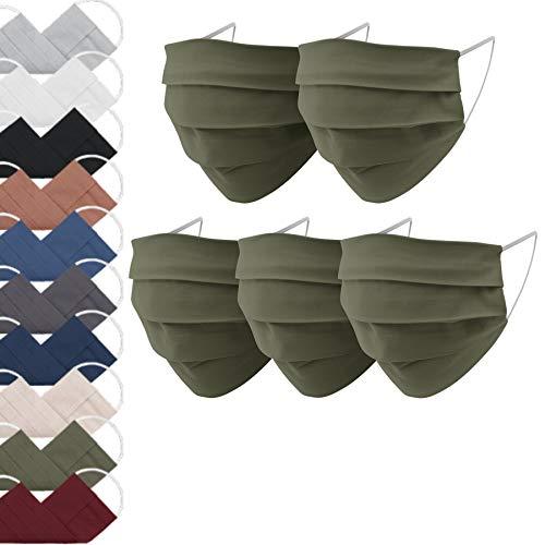 EllaTex 5er Pack Mund-Nasenschutz Masken/Atemschutz Maske Behelfsmaske Baumwolle WASCHBAR WIEDERVERWENDBAR in 10 Farben verfügbar, Farbe:Khaki