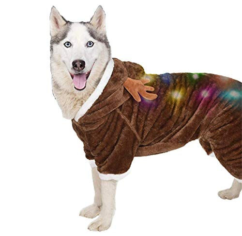 Ultra Soft Reindeer Dog Costume | Christmas Dog Costume with Blinking Lights | Light-up Christmas Dog Sweater for X-Large Dogs (and Small, Medium Dogs) | Christmas Dog Clothes | Size XL