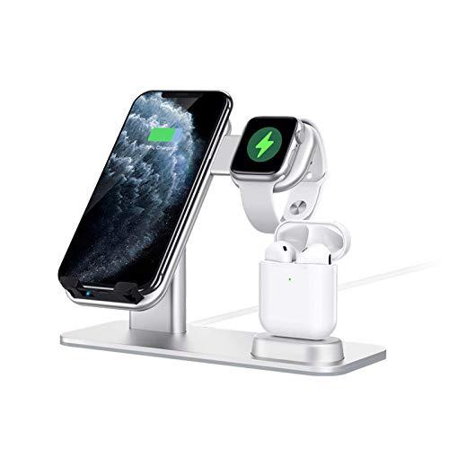 Cargador inalámbrico 3 en 1 de aleación de aluminio de 15 W Soporte de carga rápida Qi para iPhone Dock Station Vertical para teléfonos inteligentes iWatch AirPods Sumsung Huawei Xiaomi Teléfonos