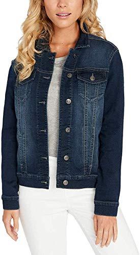 Buffalo David Bitton Womens Knit Denim Jacket (Dark Denim Wash, Medium)