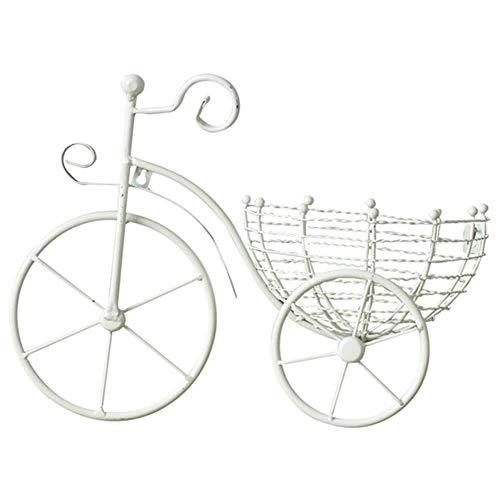 ACAMPTAR Plantador de Metal Bicicleta Colgante de Pared Cesta de Flores SuspensióN Arreglo Floral Contenedor DecoracióN para el Hogar Blanco