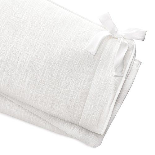 White Woven Crib Rail Cover (White Trim)