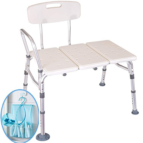Medokare Shower Transfer Bench Seat – Over Tub Transfer Bench Shower Chair for Elderly, Handicap Transfer Bench for Adults, Adjustable Bathroom Shower Seat with Tote Bag