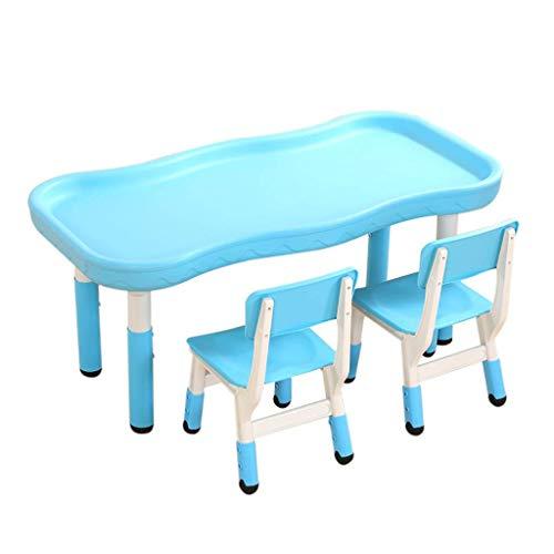 genral Juego de Mesa y 2 sillas para niños, Mesa de Actividades de plástico para niños pequeños, Muebles de Sala de Juegos para Dormitorio, Mesa de jardín de Infantes, Resistente y Duradera