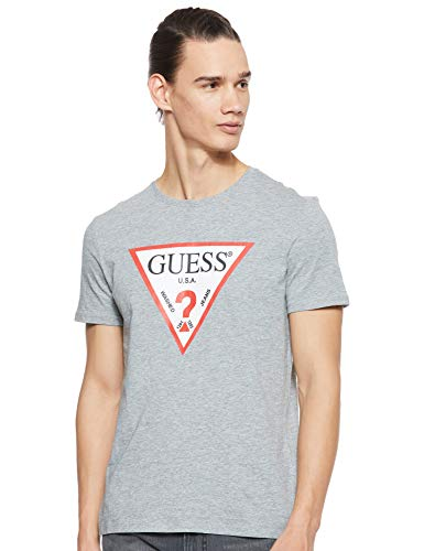 Guess Herren Cn Ss Original Logo Pullunder, Grau (Stone Heather Grey M Shgy), Medium