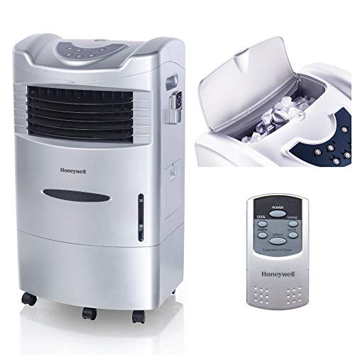 Honeywell 470-659CFM Portable Evaporative Cooler, Fan & Humidifier with Ice Compartment & Remote, CL201AE, Silver