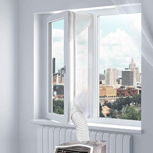 Fensterabdichtung für Mobile Klimageräte, Uong 300CM Fensterabdichtung Dachfenster, Einfach zu Installieren, mit Klebeband und Reißverschluss - Keine Bohrlöcher Erforderlich