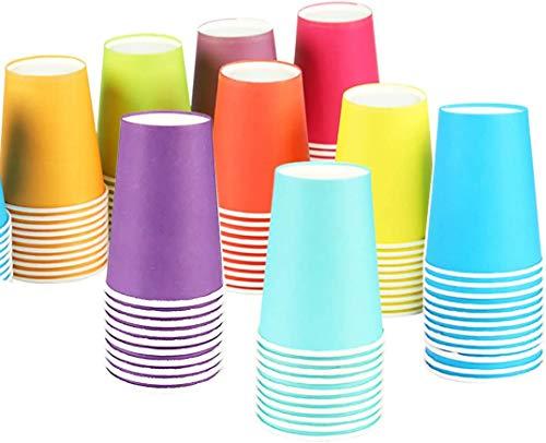 Einweg Pappbecher 100 Stück, 250 ml Bunt Partybecher Biologisch Abbaubar für Hochzeit,Kinder DIY, Partybedarf
