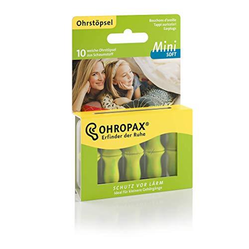 Ohropax Mini Soft Oordopjes, anatomisch gevormde in-oordopjes voor kleine gehoorgang en voor kinderen, van schuimrubber, om te ontspannen, slapen en muziek te beluisteren, 10 stuks