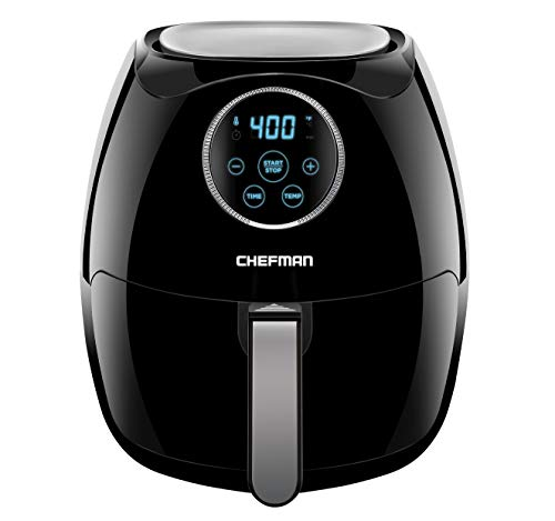 Chefman Digital 6.5 Liter Air Fryer with Space Saving Flat Basket 60 Minute Timer and Auto Shut Off, BPA Free, Family Size