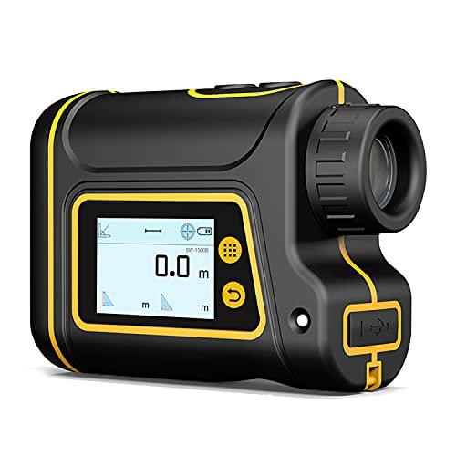 CAMILYIN Telémetro de Golf LCD, Multifunciones Laser Rangefinder, 6X Aumento, con Bloqueo de Bandera, Distancia, Medición de Velocidad, para Golf, Caza, Escalada en Roca al Aire Libre,Negro,15