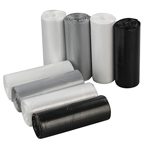 Tstorage 20 Liter Bolsa de Basura, Negre Blanco Gris Transparentes, 200 Cuentas, 8 Rolls