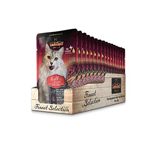 Leonardo Frischebeutel [16x85g Kalb + Gemüse] | Getreidefreies Nassfutter für Katzen | Feuchtfutter Alleinfutter im Einzelportionsbeutel