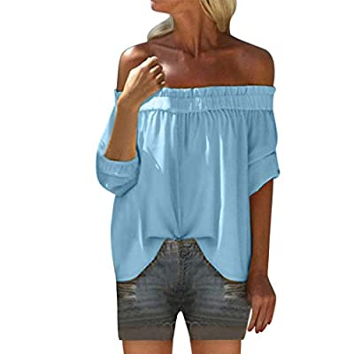 Aniywn Women Off Tops T-Shirt Summer Plus Size Half Sleeve Solid Tee Blouse