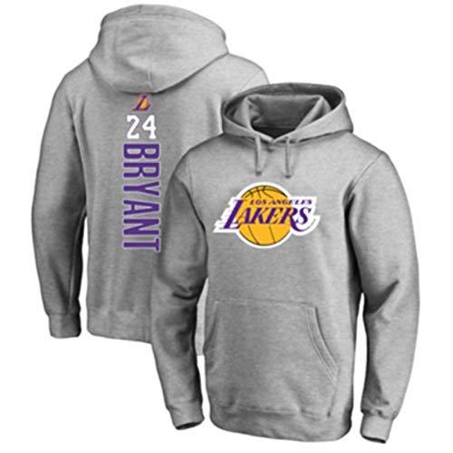 DFGTR Herren Los Angeles Lakers #24 Basketball Hoodies Pullover Fleece Hoodie Sweatshirt mit Taschen Atmungsaktiv Kobe Bryant Hoodie Sweater - Grau
