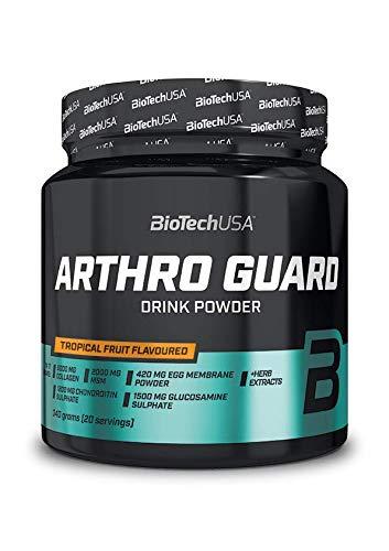 BioTechUSA Arthro Guard Getränkepulver mit hydrolysiertes Kollagen, Glucosaminsulfat, Chondroitinsulfat, MSM, Eierschalenmembranpulver, Vitamin C, 340 g, tropische Früchte