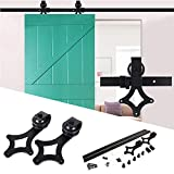 vía para puerta Corredera, 183cm/200cm Puerta Corredera de hardware kit Negro para puerta Individual hardware Track kit
