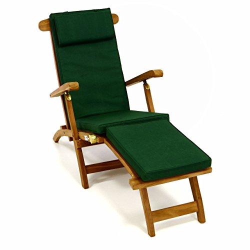Divero Liegestuhl eleganter Deckchair Florentine Steamer Chair Teakholz Liegenauflage mit Kopfteil mit 4 Segmenten wasserabweisend Bezug abnehmbar mit Reißverschluss (dunkelgrün)