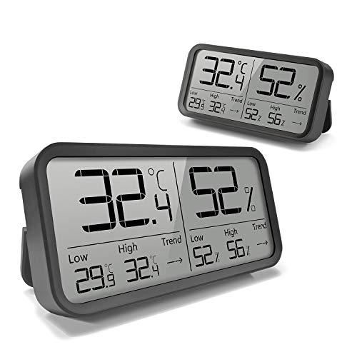 AngLink 2 Stück Digitales Thermo-Hygrometer Innen, Tragbares Thermometer Hygrometer Luftfeuchtigkeitsmessgerät mit Hohen Genauigkeit für Raum klimakontrolle, Babyraum, Wohnzimmer, Büro (2 Stück)