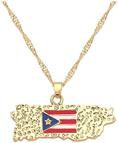 Yaoliangliang Collar Color Dorado Bandera Nacional de Puerto Rico Mapa Colgante Collar Charm Joyas para Hombre Charm Regalo Collar Accesorios 40Cm Cadena