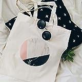 Bolso tote de mármol círculo lona impresión algodón rosa blanco negro geométrico minimalista gráfico