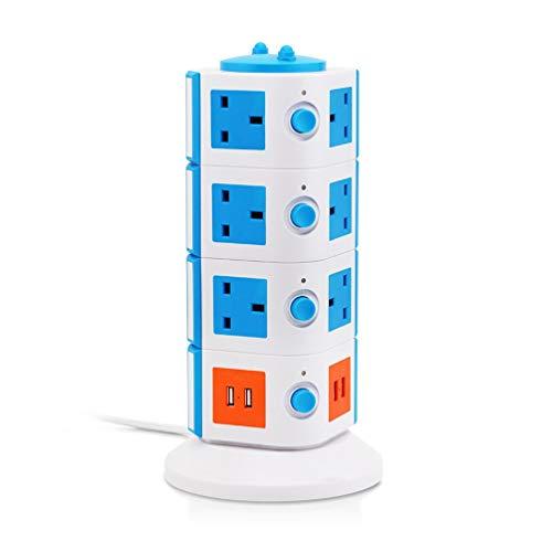 JUNPE Extensión de energía Torre Torre Surge Protector eléctrico estación de Carga 14 del Enchufe enchufes con 4 USB Ranura 2 m Cable de extensión (Color : Blue)