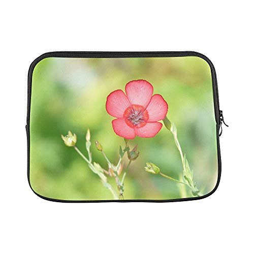 Design Custom Linum Grandiflorum Red Lein Blossom Bloom Flower Sleeve Soft Laptop Case Bag Pouch Skin for MacBook Air 11'(2 Sides)