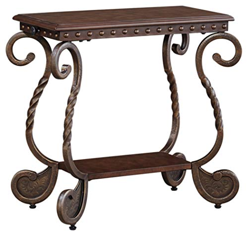 Signature Design by Ashley - Rafferty Traditional Chairside End Table, Antique Dark Brown
