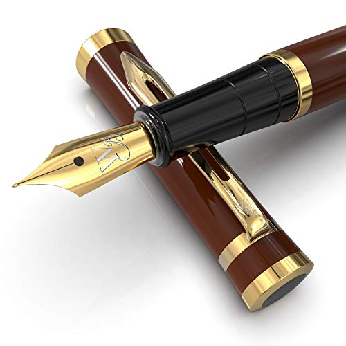 Wordsworth & Black Fountain Pen Set, Medium Nib, Includes 6 Ink Cartridges and Ink Refill Converter, Gift Case, Journaling, Calligraphy, Smooth Writing Pens [Brown Gold], Perfect for Men and Women