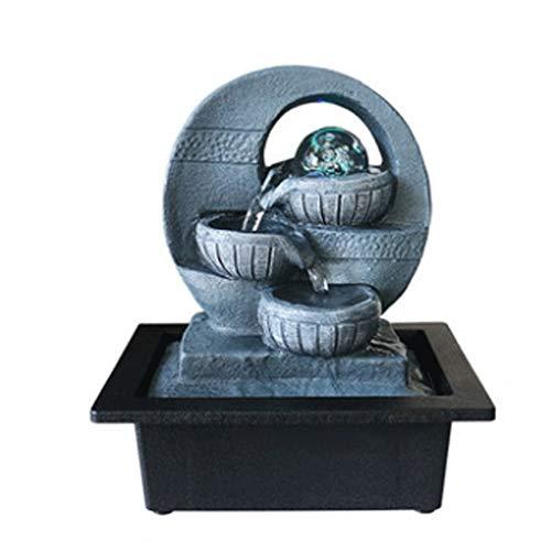 Fuente de Agua de Mesa Fuente de decoración Fuentes de agua con tablero con pelota de laminación LED, Feng Shui Indoor Cascada iluminada y sonido de agua calmante Fuentes de Interior ( Color : A )