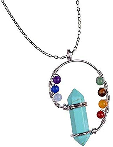 huangxuanchen co.,ltd Collar 7 Chakra Stone Collares de Plata Mujeres Pearl Blue Reiki Crystal Colgante Collar Collar