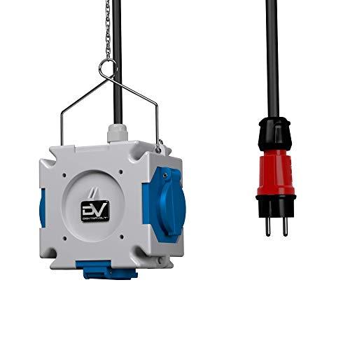 Stromverteiler mDV 3x230V mit 1,5m Kabel Stecker 1,5m Verzinktkette Verteiler Kreuzverteiler 2671