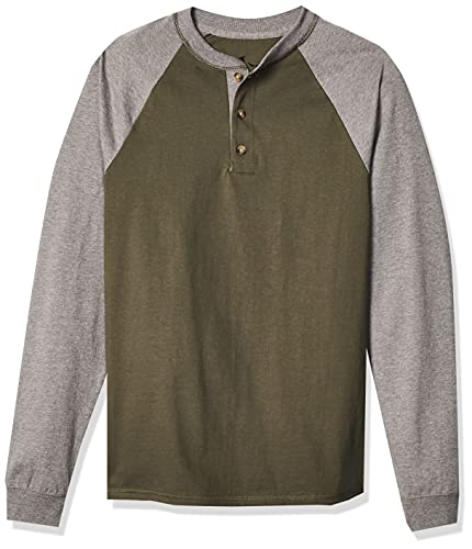 Hanes Men's Long-Sleeve Beefy Henley T-Shirt - Large - Camouflage Green/Oxford Gray
