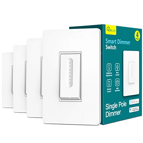 Treatlife Smart Dimmer Switch 4 Pack, Works with Alexa and Google Home, 2.4GHz WiFi Smart Light Switch for Non-Smart Dimmable LED/CFL or Incandescent Bulbs, Neutral Wire Required, Single-Pole