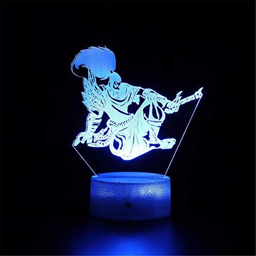 League of Legends The Unforgiven - Lámpara de ilusión 3D regulable con control táctil, luz de brillo para decoración del hogar y regalos para amantes, padres, amigos