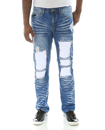 Fly Society Men's Ripped W/Accodion Backing Moto Denim Jeans-Blue-34W X 32L
